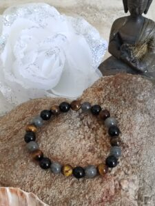 Bracelet tourmaline-labradorite-oeil de tigre