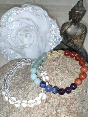Bracelet 7 chakras et Cristale de Roche