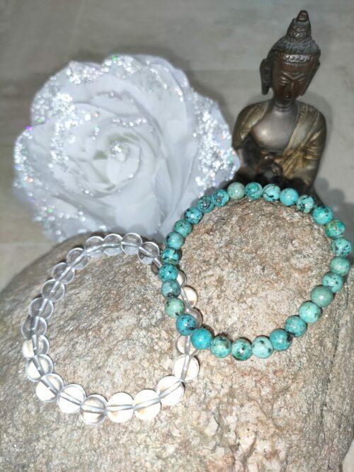 Bracelet Turquoise africaine et Cristal de roche